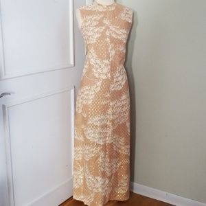 Vintage 70s Maxi Dress 2 Piece Set Metallic
